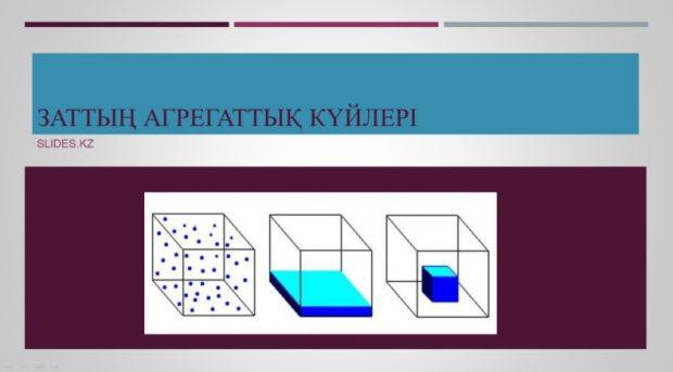 Заттың агрегаттық күйлері туралы слайд
